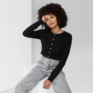 Wild Fable Button-Front Cropped Rib-Knit Cardigan